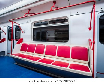 Interior of modern subway train, without people