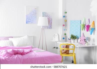 Interior of modern teenage room
