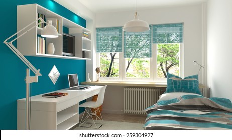 Interior of the modern teenage room (3 D render using 3 DS Max)