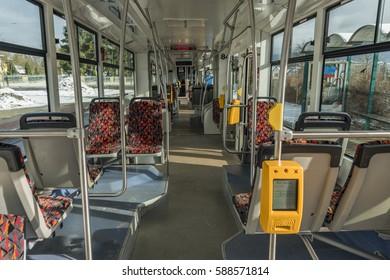 Interior of modern tram in Liberec city