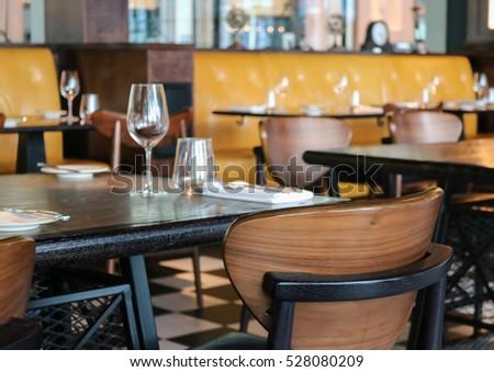 antique restaurant furniture. Beautiful Furniture Interior Of Modern Vintage Restaurant Empty Glasses Set On The Table Inside Antique Restaurant Furniture O