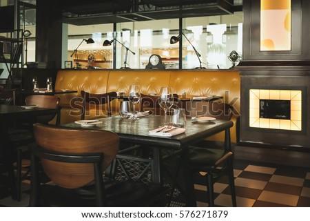 Interior Modern Vintage Restaurant Vintage Tone Stock Photo Edit
