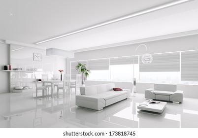Interior of modern white apartment 3d render