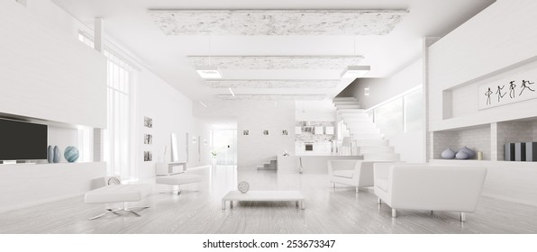 Interior of modern white apartment hall kitchen panorama 3d render