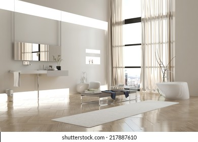 Interior of Modern White Bathroom in Apartment with Sparse Furnishings