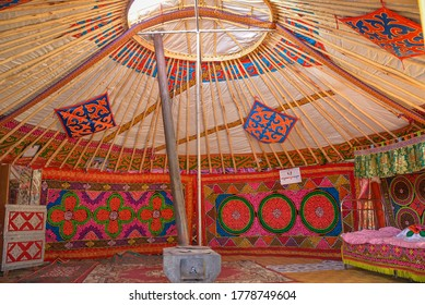 The interior of a Mongolian ger yurt.