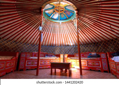 The interior of a Mongolian yurt.