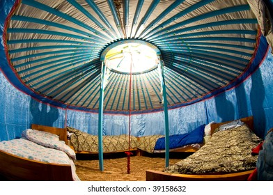 interior of Mongolian yurta as camping house