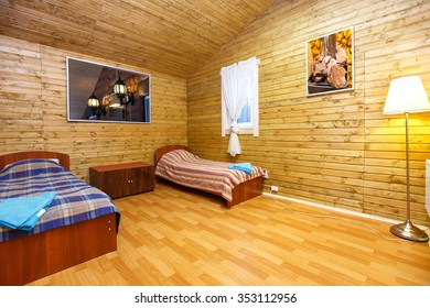 Interior of motel two bed room in Finland