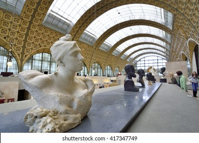 Interior of Museum Orsay in Paris, France. Paris,France - June 2,2015:Daughter to Uppsala University exchange student. Family to Europe Travel.