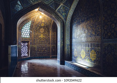 Interior mysterious passageway inside the Sheikh Lotfollah Mosque at Naqhsh-e Jahan Square in Isfahan, Iran on April 22, 2018. Construction of the mosque was finished in 1618.
