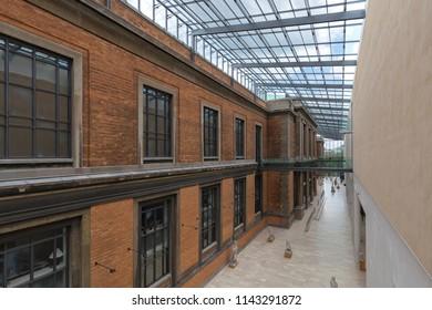 Interior of the National Gallery of Denmark (Statens Museum for Kunst), Copenhagen, Denmark - 23 Jun 2018: The original museum building was built  in a  Historicist Italian Renaissance revival style.
