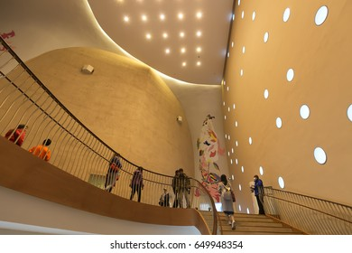 Interior of National Taichung Theater, Taichung, Taiwan - 26 Feb, 2017: It was designed by Japanese architect Toyo Ito in collaboration with Cecil Balmond at Arup AGU.