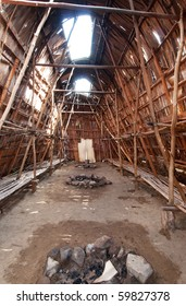 interior of a native canadian longhouse, lanaudiere region of quebec