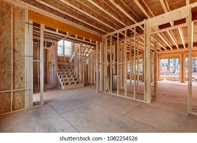 Interior of a new home construction showing the entire first floor