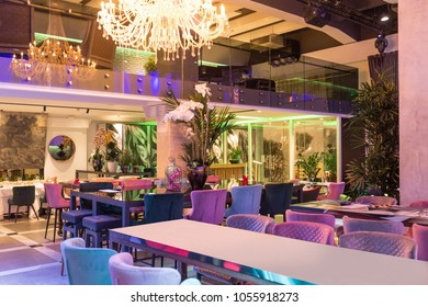 Interior of a new luxury restaurant in the evening