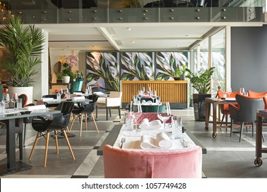 Interior of a new luxury restaurant in the morning
