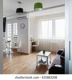 Interior of a new modern apartment in scandinavian style