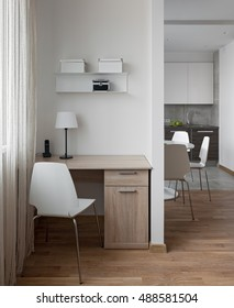 Interior of a new modern apartment in scandinavian style with workplace