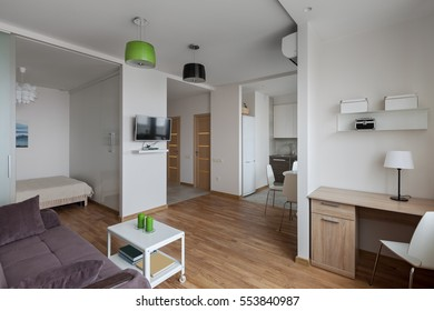 Interior of a new modern apartment in scandinavian style. NOTE: All photos on the wall are made and printed by me!