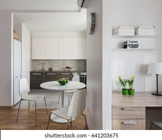 Interior of a new modern apartment in scandinavian style with kitchen and workplace.
