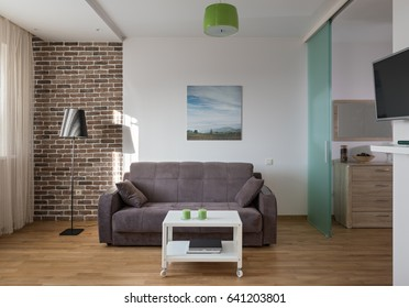 Interior of a new modern apartment in scandinavian style in daylight. NOTE: PHOTO ON THE WALL WAS MADE AND PRINTED BY ME!!!