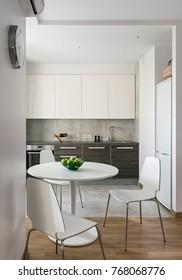 Interior of a new modern kitchen in scandinavian apartment.