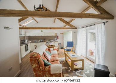 interior of newly refurbished english country cottage
