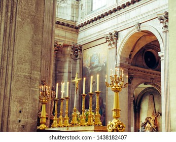 Interior of the Notre Dame in Paris. France. Europe with church windows and modern optics 04.2005.01