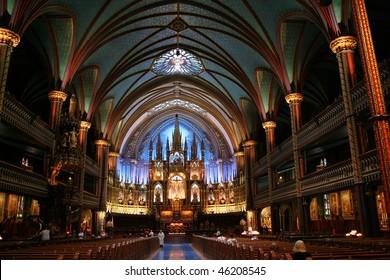 Interior of Notre-Dame Basilica in Montreal, Canada (Basilique Notre-Dame de Montreal)