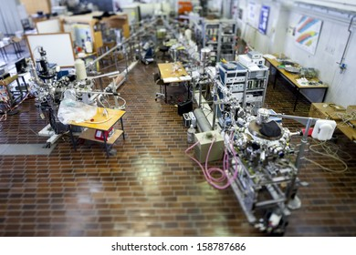 Interior of nuclear laboratory-ION accelerator-miniature effect