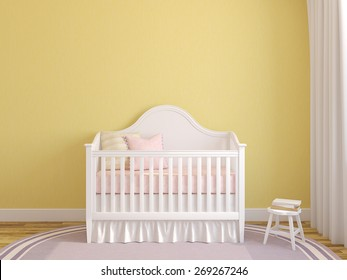 Interior of nursery with crib near empty yellow wall. 3d render.