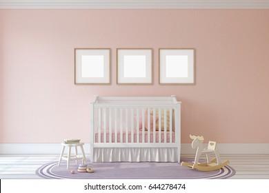 Interior of nursery. Frame mockup. 3d render.