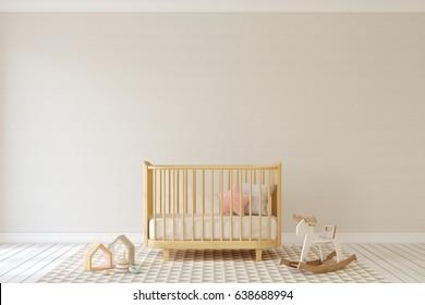 Interior of nursery in scandinavian style. 3d render.