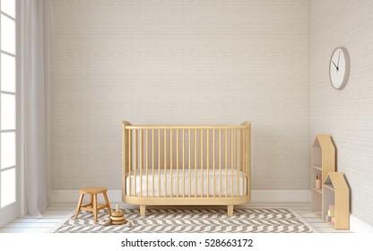 Interior of nursery in scandinavic style. 3d render.