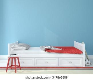 Interior of nursery.Bedroom for child. 3d render.
