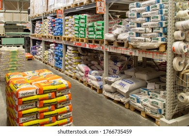 Interior of the OBI store. large hardware store, tools and material. home improvement retailer. building mix section.