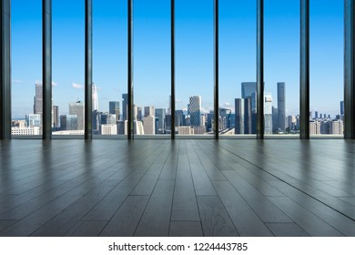 interior of office building with city skyline in shenzhen china