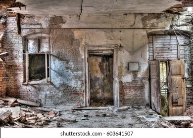 Interior of the old, abandoned and crumbling building
