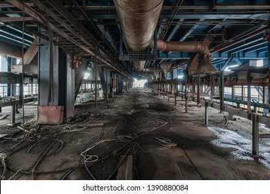 Interior of an old abandoned industrial steel factory