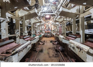 Interior of old abandoned Russian Soviet submarine. Interior of combat submarine