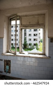 interior of an old abandoned soviet hospital in military town of  skrunda, latvia
