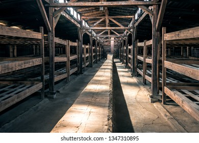 interior of old abandoned wooden barrack