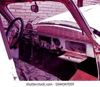 interior of the old broken car
