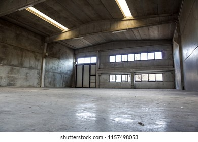 Interior of old factory buildings abandoned and empty