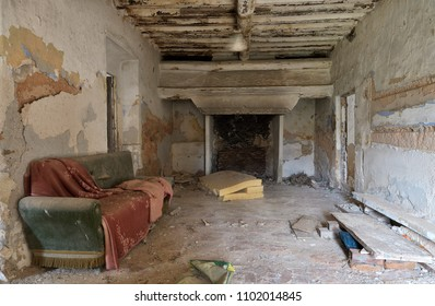 interior of old house in ruins and abandoned
