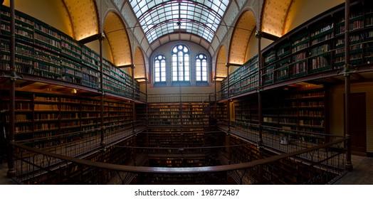 Interior of old library in Rijksmuseum Amsterdam, Holland. 08 june 2014.
