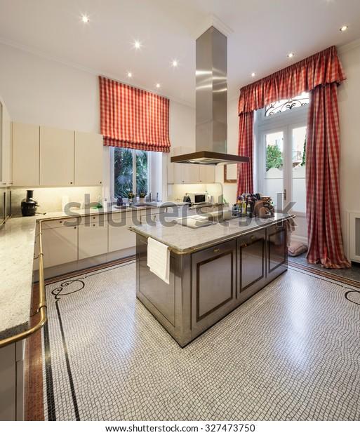 Interior Old Mansion Wide Modern Kitchen Stock Photo Edit Now 327473750