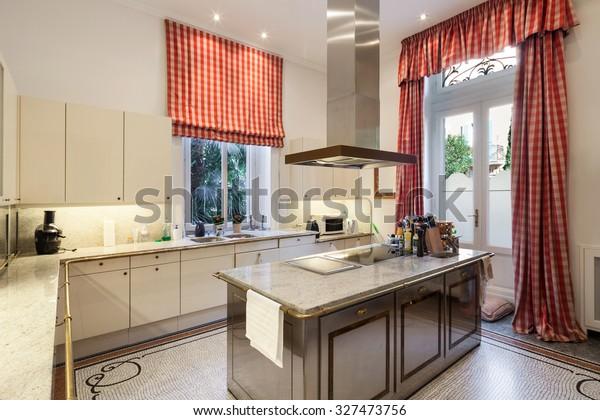Interior Old Mansion Wide Modern Kitchen Stock Photo Edit Now 327473756