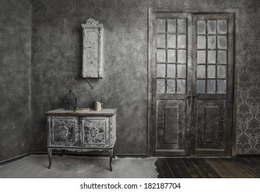 interior of old medieval abandoned house